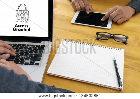 Access Granted Anytime Available Businessman Working At Office Desk And Using Compute Possible Unloc