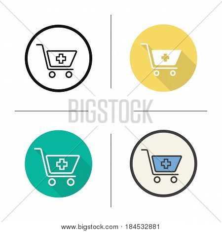 Drugstore shopping icon. Flat design, linear and color styles. Pharmacy. Shopping cart with medical cross. Isolated vector illustrations