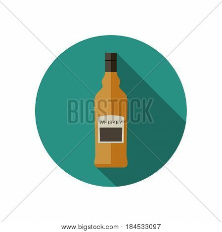 Whiskey icon in flat style. Vector flat bottle of whiskey.