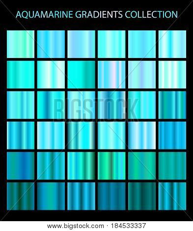 Aquamarine Color Gradients Collection. Bright Patterns, Templates For Your Design. Shiny Backgrounds