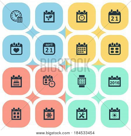 Vector Illustration Set Of Simple Calendar Icons. Elements Renovation Tools, Agenda, Intelligent Hour And Other Synonyms Sun, Repair And Calendar.