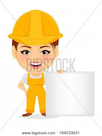 Builder woman. Funny female worker with big head standing near blank sign. Humorous cartoon character repairer. Vector illustration.