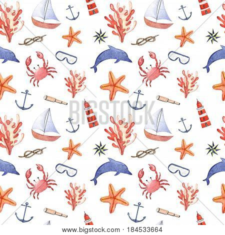 Watercolor hand drawn isolated on white seamless pattern with crab, anchor, dolphin, swimming goggles, sea star and lighthouse.