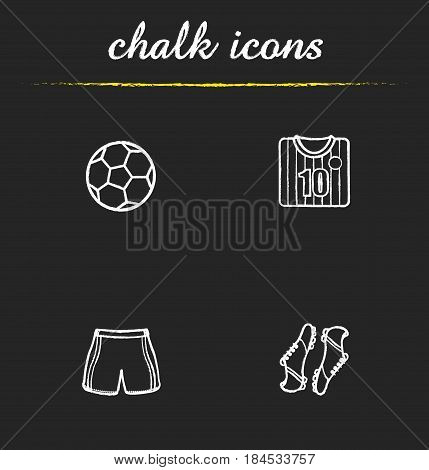 Soccer chalk icons set. Football shirt, boots and shorts, ball. Soccer player's uniform. Isolated vector chalkboard illustrations