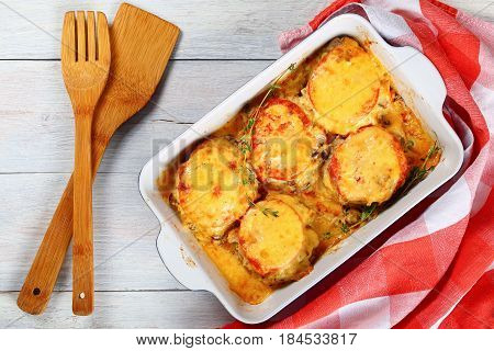 Casserole With Meat, Vegetables And Cheese