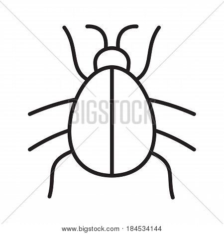 Beetle linear icon. Computer virus thin line illustration. Malware and spyware bug contour symbol. Vector isolated outline drawing