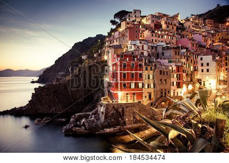 travel amazing Italy series - Riomaggiore Village at night, Cinque Terre national park, Liguaria