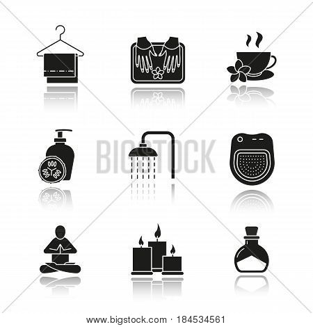 Spa salon drop shadow black icons set. Towels on clothes hanger, yoga pose, cucumber lotion, shower, herbal teacup, candles, salt bottle, spa salon bath. Isolated vector illustrations