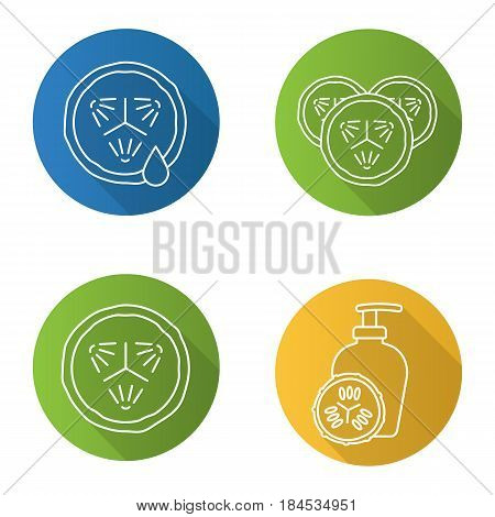 Cucumbers in cosmetology. Flat linear long shadow icons set. Cucumber slices with juice drop, facial mask. Vector line illustration