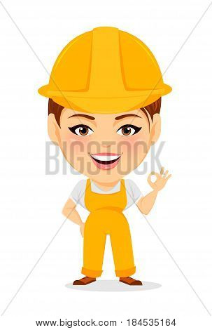 Builder woman. Funny female worker with big head showing OK gesture. Humorous cartoon character. Vector illustration.