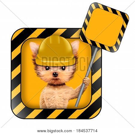 Funny dog in yellow hard hat with road sign isolated on white. Concepts for web banners, web sites. Fixing computer and repair center concept with cute dog. 3D illustration with clipping path