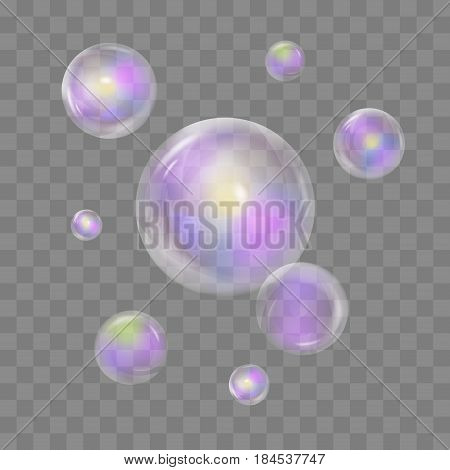 Set of realistic transparent colorful soap bubbles with rainbow reflection isolated on checkered background. Vector texture