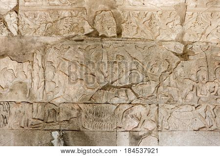 A Bas-Relief Statue of Khmer Culture in Angkor Wat Cambodia