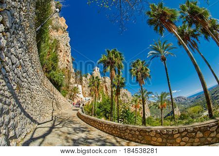 Walkway to Guadalest Castle (El Castell de Guadalest), one of Spain's most visited castle located in Alicante province