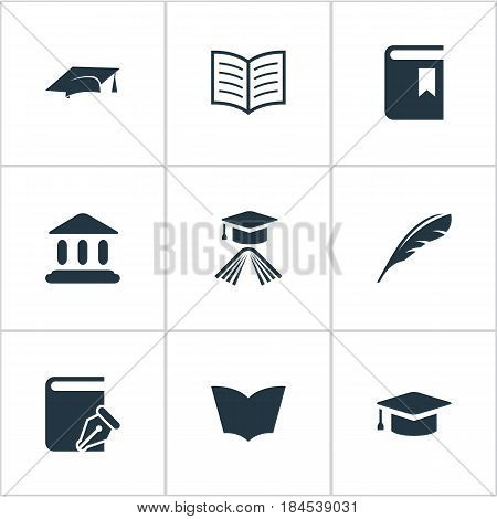 Vector Illustration Set Of Simple Education Icons. Elements Library, Plume, Academic Cap And Other Synonyms Cap, Academic And Feather.