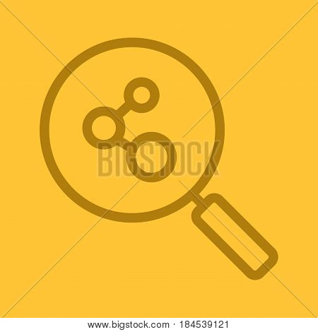 Connection search color linear icon. Magnifying glass. Thick line contour symbols on color background. Molecular structure analysis. Vector illustration