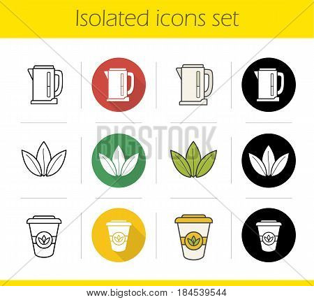 Tea icons set. Flat design, linear, black and color styles. Electric kettle, loose tea leaves, takeaway paper cup. Isolated vector illustrations