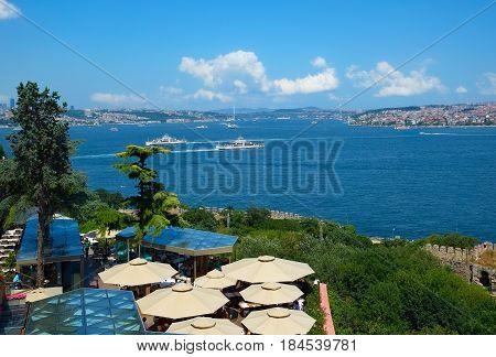 The View Of The Bosphorus With The Bosphorus Bridge.  Istanbul, Turkey.