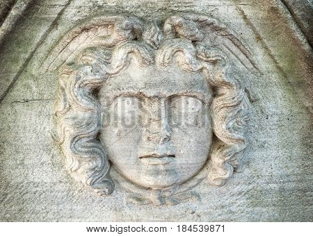 The Mask Of Medusa The Gorgon On The Sarcophagus. Istanbul