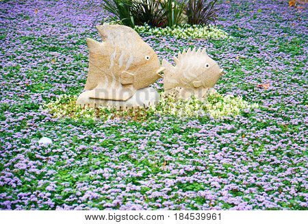 The Decorative Floral Composition With Stone Fish In Gulhane Park, Istanbul