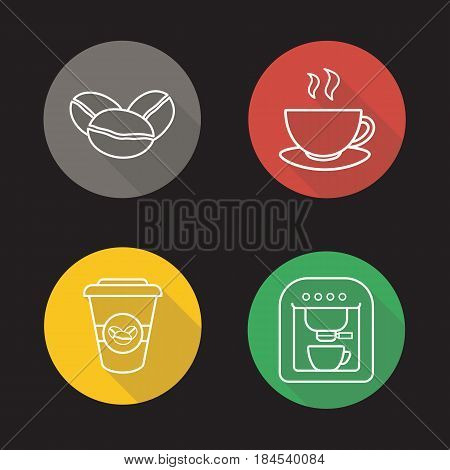 Coffee flat linear long shadow icons set. Roasted coffee beans, espresso machine, steaming mug on plate, takeaway paper cup. Vector line illustration