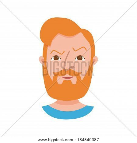 Male hipster cartoon character icon. Flat style emotion young beard men avatar. Colorful vector illustration of isolated guy face with expression angry.