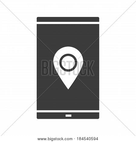 Smartphone gps navigation glyph icon. Silhouette symbol. Smart phone with map pinpoint. Negative space. Vector isolated illustration