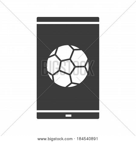 Smartphone soccer game glyph icon. Sport bets app. Silhouette symbol. Smart phone with football ball. Negative space. Vector isolated illustration
