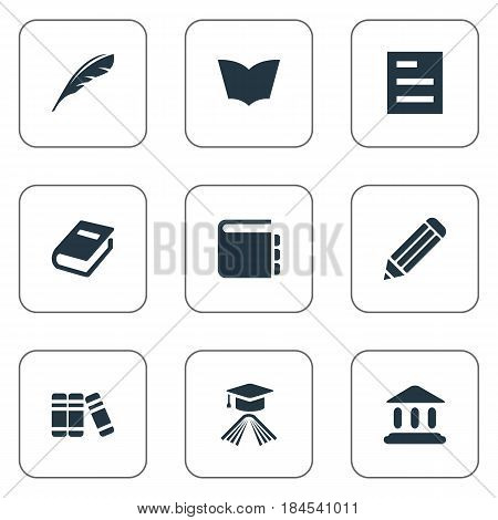 Vector Illustration Set Of Simple Knowledge Icons. Elements Library, Tasklist, Journal And Other Synonyms Document, Academy And Library.