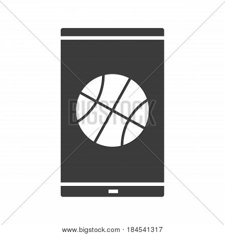 Smartphone basketball app glyph icon. Silhouette symbol. Smart phone with basketball ball. Negative space. Vector isolated illustration