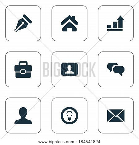 Vector Illustration Set Of Simple Business Icons. Elements Chatting, Progress, Anonymous And Other Synonyms Portfolio, Interlocutor And Talking.