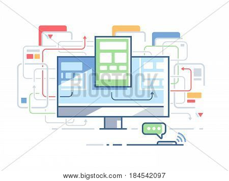 Web site structure order. Page design website. Vector flat illustration