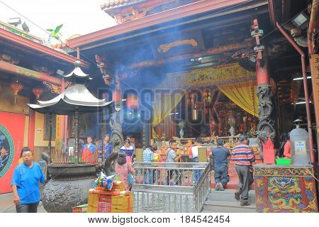 TAINAN TAIWAN - DECEMBER 11, 2016: Unidentified people visit Tian Tan temple. Tian Tan temple is one of the oldest temple in Tainan.