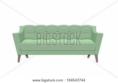 Sofa and couch colorful cartoon illustration vector. Comfortable lounge for interior design isolated on white background. Modern model of settee icon.