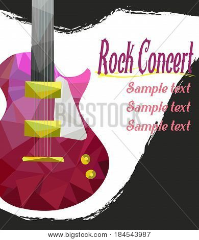 Live music vector poster template. Rock concert with guitar, musical placard vintage illustration