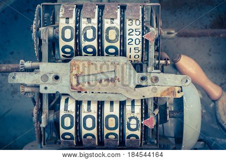 Vintage Analog Oil Meter Of A Pump,digits Of Oil Pump Mechanical Counter.