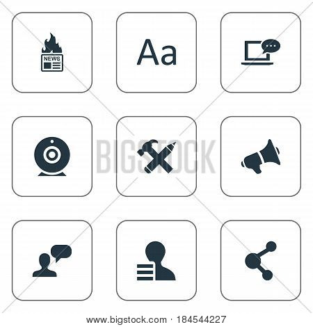 Vector Illustration Set Of Simple Newspaper Icons. Elements Laptop, Loudspeaker, Gazette And Other Synonyms Gazette, Pencil And Broadcast.