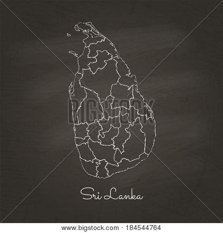 Sri Lanka Region Map: Hand Drawn With White Chalk On School Blackboard Texture. Detailed Map Of Sri