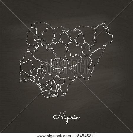 Nigeria Region Map: Hand Drawn With White Chalk On School Blackboard Texture. Detailed Map Of Nigeri