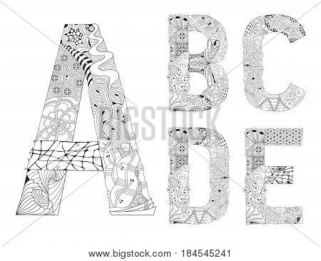 Hand-painted art design. Black and white hand drawn illustration alphabet. Part 1