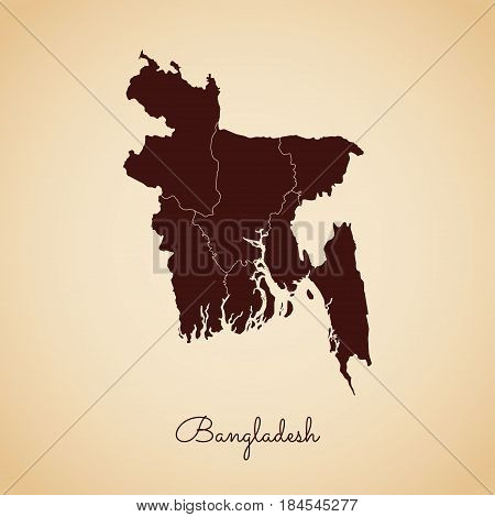Bangladesh Region Map: Retro Style Brown Outline On Old Paper Background. Detailed Map Of Bangladesh