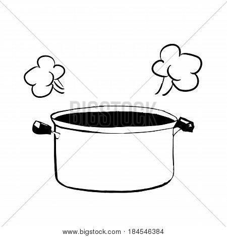 Hand drawn sketch of an open casserole or pan for cooking vector illustration cartoon style