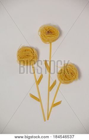 Varieties of pasta making flowers on white background