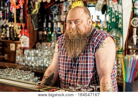 Portrait of pensive bearded man standing at counter. He selling alcoholic drinks. Different glasses locating around him