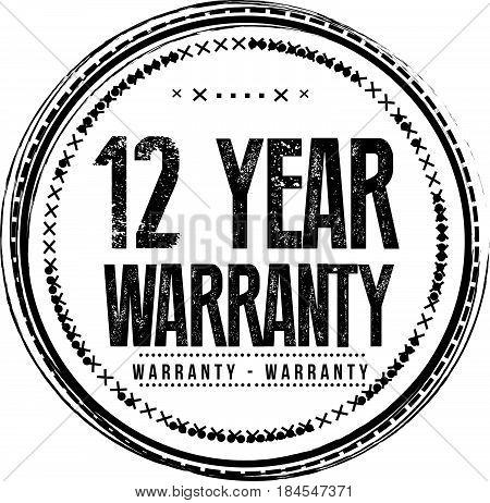 12 year warranty icon vintage rubber stamp guarantee