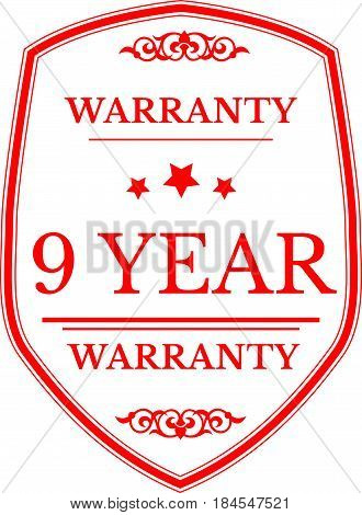 9 year red warranty icon vintage rubber stamp guarantee