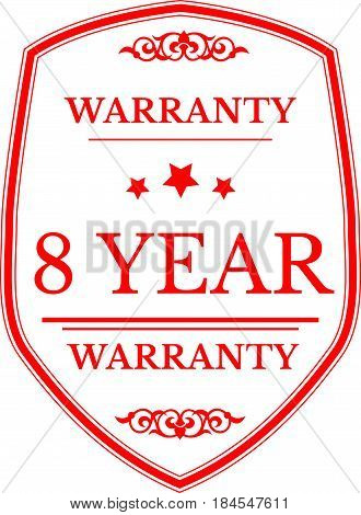 8 year red warranty icon vintage rubber stamp guarantee