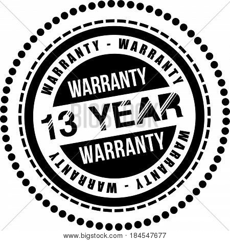 13 year warranty icon vintage rubber stamp guarantee