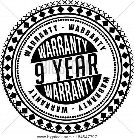 9 year warranty icon vintage rubber stamp guarantee