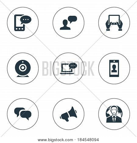 Vector Illustration Set Of Simple Newspaper Icons. Elements Notepad, Loudspeaker, Profile And Other Synonyms Conversation, Coming And Debate.